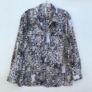 NY Collection Animal Floral Button Up Blouse #740